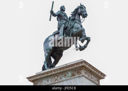 Madrid, Spain - february 26, 2017: Equestrian statue of Philip IV on the Plaza de Oriente. Isolated over white background. - Stock Photo
