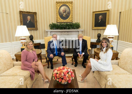 President Donald Trump and First Lady Melania Trump meet with Israeli Prime Minister Benjamin Netanyahu, and his - Stock Photo