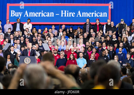 President Donald Trump delivers remarks on Wednesday, March 15, 2017, at the American Center for Mobility in Ypsilanti, - Stock Photo