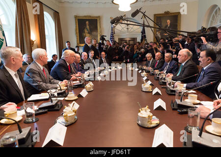 President Donald Trump and Iraqi Prime Minister Haider al-Abadi participate in a bilateral meeting, Monday, March - Stock Photo