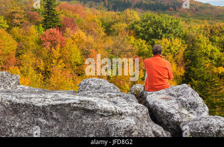 Hiker on rocks at Dolly Sods - Stock Photo