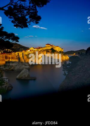 Sunset scenery Dubrovnik Croatia old town - Stock Photo