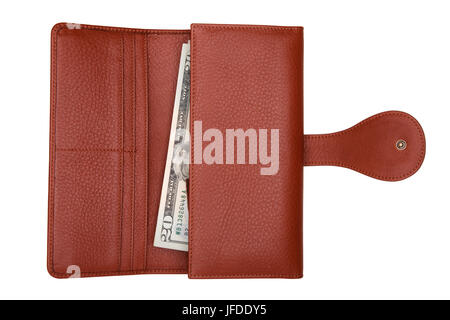 Brown natural leather wallet with money isolated on white background. Expensive woman's purse closeup. Wallet filled - Stock Photo