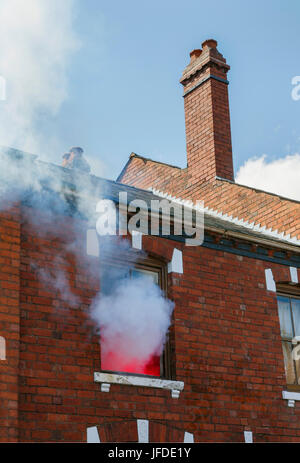 House Fire - Building Exterior - Stock Photo
