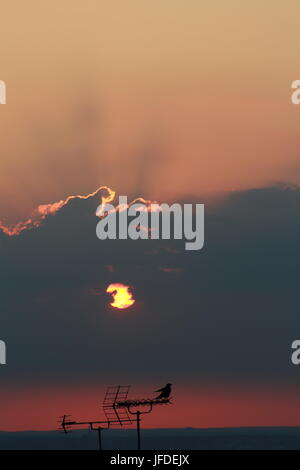 Sunset through the clouds - Stock Photo