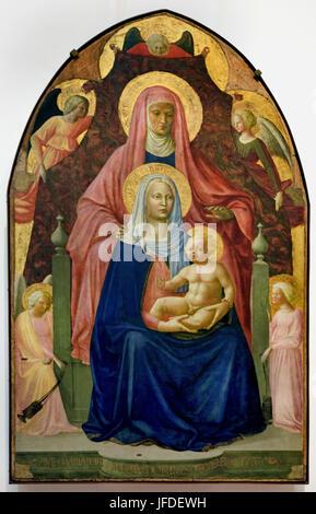 Madonna and child with St Anne and Five Angels 1424 Masolino da Panicale - Tommaso di Cristoforo Fini. 1383 –1447 - Stock Photo