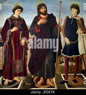 St Vincent, St James, and, St Eustace, Antonio del Pollaiuolo  and  Piero del Pollaiuolo ( 1443 – 1496 ), also known - Stock Photo