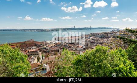View of lisboa from Sao Jorge Castle. - Stock Photo