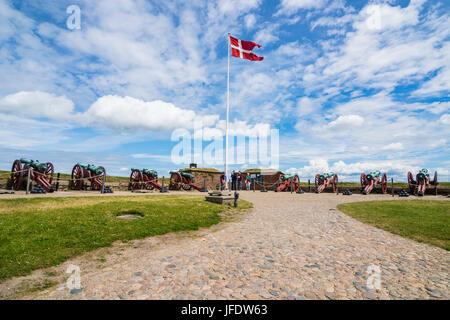 Old cannons in the Unesco world heritage sight Kronborg renaissance castle, Helsingor, Denmark - Stock Photo