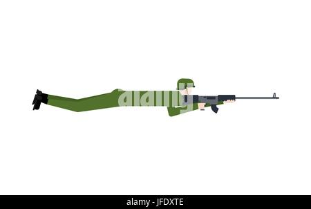 Sniper lies with rifle. Soldier in ambush isolated - Stock Photo