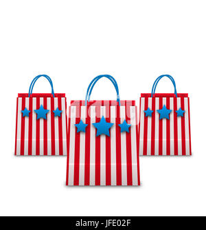 Illustration Shopping Bags in American Patriotic Colors. Packets Isolated on White Background - - Stock Photo