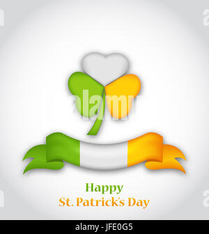 Illustration shamrock and ribbon in traditional Irish flag colors for St. Patrick's Day - - Stock Photo