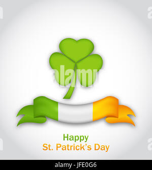 Illustration clover with ribbon in traditional Irish flag colors for St. Patrick's Day - - Stock Photo
