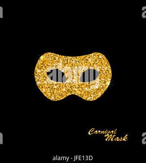 Illustration Golden Glittering Carnival or Theater Mask on Dark Background - - Stock Photo
