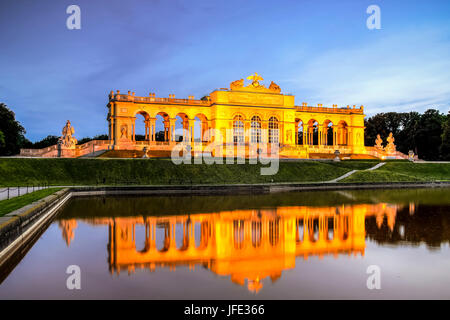 The Gloriette monument in the back courtyard off Schonbrunn Palace in Vienna, Austria - Stock Photo