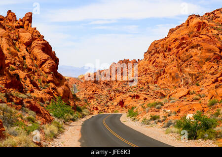 Mouses Tank Road in the Valley of Fire - Stock Photo