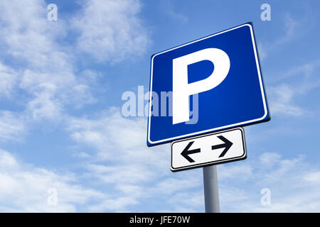 Parking signal with cloudy sky - Stock Photo