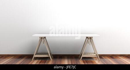 Office desk on a wooden floor - white wall. 3d illustration - Stock Photo