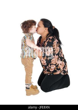Nanny kisses her little boy. - Stock Photo