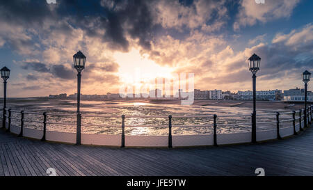 View of Worthing Seafront From the Pier Just Before Sunset, Sussex, UK. - Stock Photo