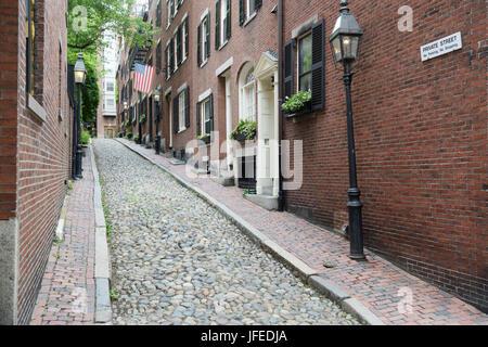 Historic Acorn Street, Beacon Hill neighborhood of Boston, MA - Stock Photo