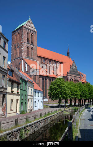 Church of St. Nicholas in the Old Town, Hanseatic town Wismar, Mecklenburg, Mecklenburg-West Pomerania, Germany - Stock Photo