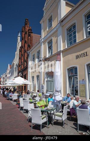Reuterhaus on the marketplace, Hanseatic town Wismar, Mecklenburg, Mecklenburg-West Pomerania, Germany - Stock Photo