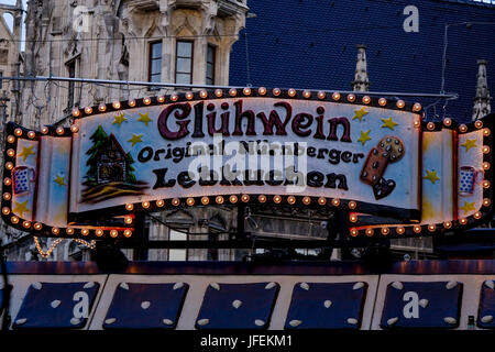 sign for mulled wine on a christmas market stock photo. Black Bedroom Furniture Sets. Home Design Ideas