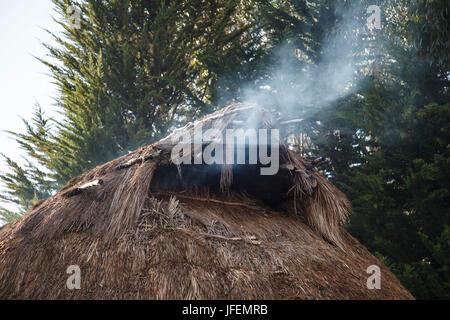 Chile, Araucania, Llaguepulli, Mapuche, Ruka, round house, smoke - Stock Photo