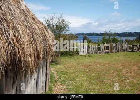 Chile, Araucania, Lago Budi, Llaguepulli, Mapuche, Ruka, round house - Stock Photo