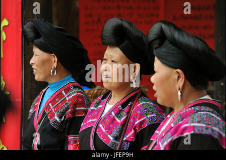 China, Guangxi Province, Longsheng aera, Dazhai village, Red Yao minority - Stock Photo