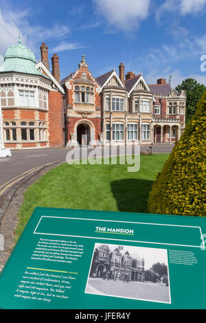 England, Buckinghamshire, Bletchley, Bletchley Park, The Mansion - Stock Photo