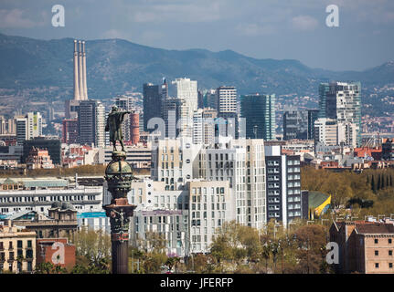 Spain, Catalonia, Barcelona City, Colombus Monument, Diagonal Mar District skyline - Stock Photo
