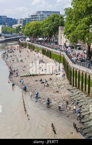 England, London, River Thames Archaeological Dig at Low Tide - Stock Photo