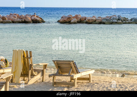 Front row seats by the sea in Curacao - Stock Photo