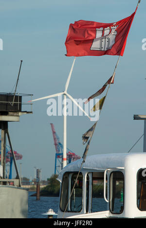 GERMANY, Hamburg, annual port event Hafengeburtstag with ships on river Elbe and Nordex wind turbine at Hamburg - Stock Photo