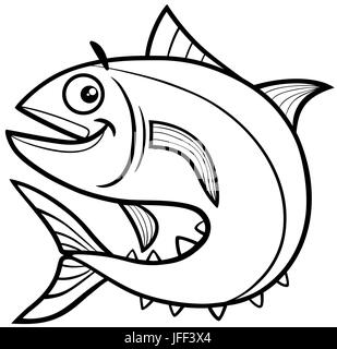 Cartoon illustration of tuna fish sea life animal for Tuna fish coloring page
