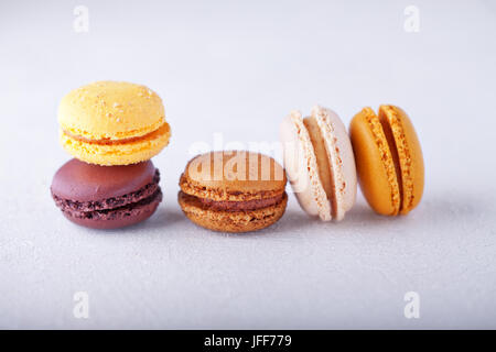 Colorful almond cookies macaroons - Stock Photo