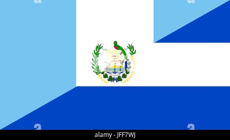 Guatemala El Salvador Neighbor Countries Half Flag Symbol Stock