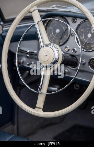 Detail of the interior of a classic Mercedes car - Stock Photo