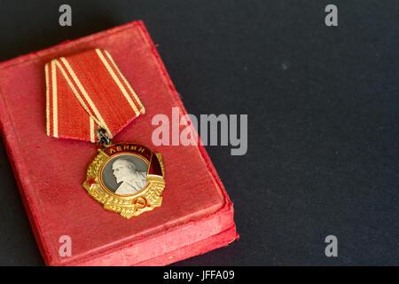 Order of Lenin USSR on black background. - Stock Photo