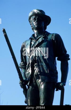 Minute Man statue at North Bridge, Minute Man National Historic Park, Massachusetts - Stock Photo