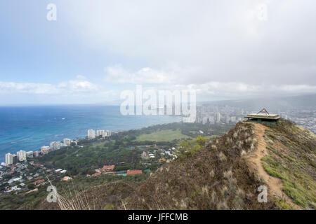 panorama of honolulu from diamond head - Stock Photo