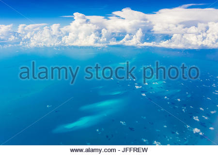 An aerial view of underwater sand dunes in the Atlantic Ocean near the Bahama Islands. - Stock Photo