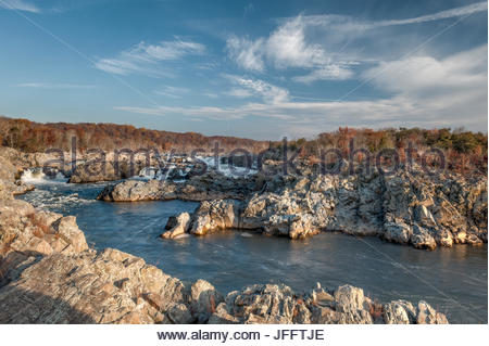 Great Falls of the Potomac River, viewed from the Virginia side. - Stock Photo