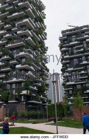 Bosco Verticale, Vertical Forest, a pair of residential towers in the Porta Nuova district of Milan, Italy. - Stock Photo