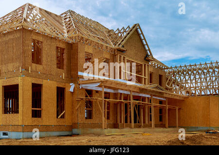 The frame building or a house with basic electrical wiring Stock