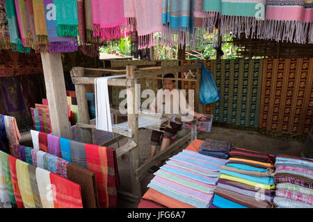 Old woman working on a loom in the village of Ban Xang Hai, Laos, Asia - Stock Photo
