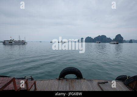 View from a boat on the Halong Bay, Vietnam, Asia - Stock Photo
