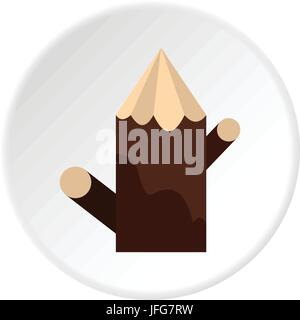 Pointed woden stump icon circle - Stock Photo